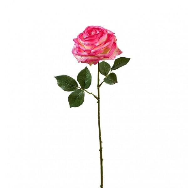 Rose mit Blätter L66cm, fuchsia, Ve. 3St (#191190387)