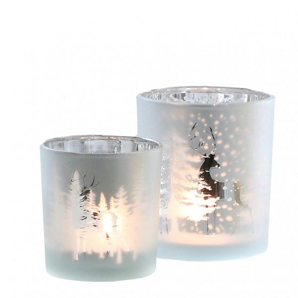 Teelichtglas 'Winterwald' Ø7cm, H 8cm