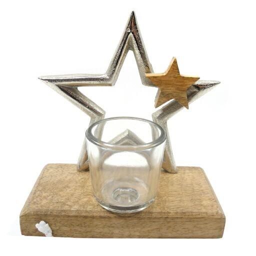 Stern auf Holzfuß 15x8x16cm, 1 Stück