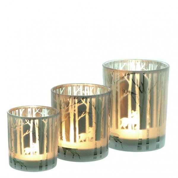 Teelichtglas 'Wald' Ø 9cm x H 10cm