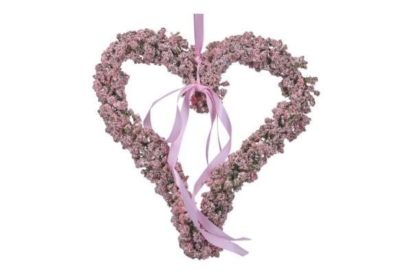 Herz mit Band, 17cm, 1 Stück, rosa
