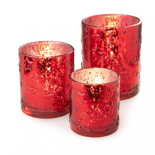 Teelichtglas 'Sterne' D8,5cm H 10cm, 1St