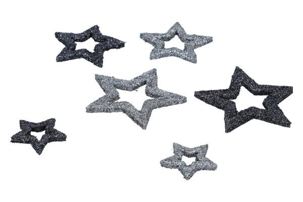 Sterne offen beglittert, 1Box = 24 Stück