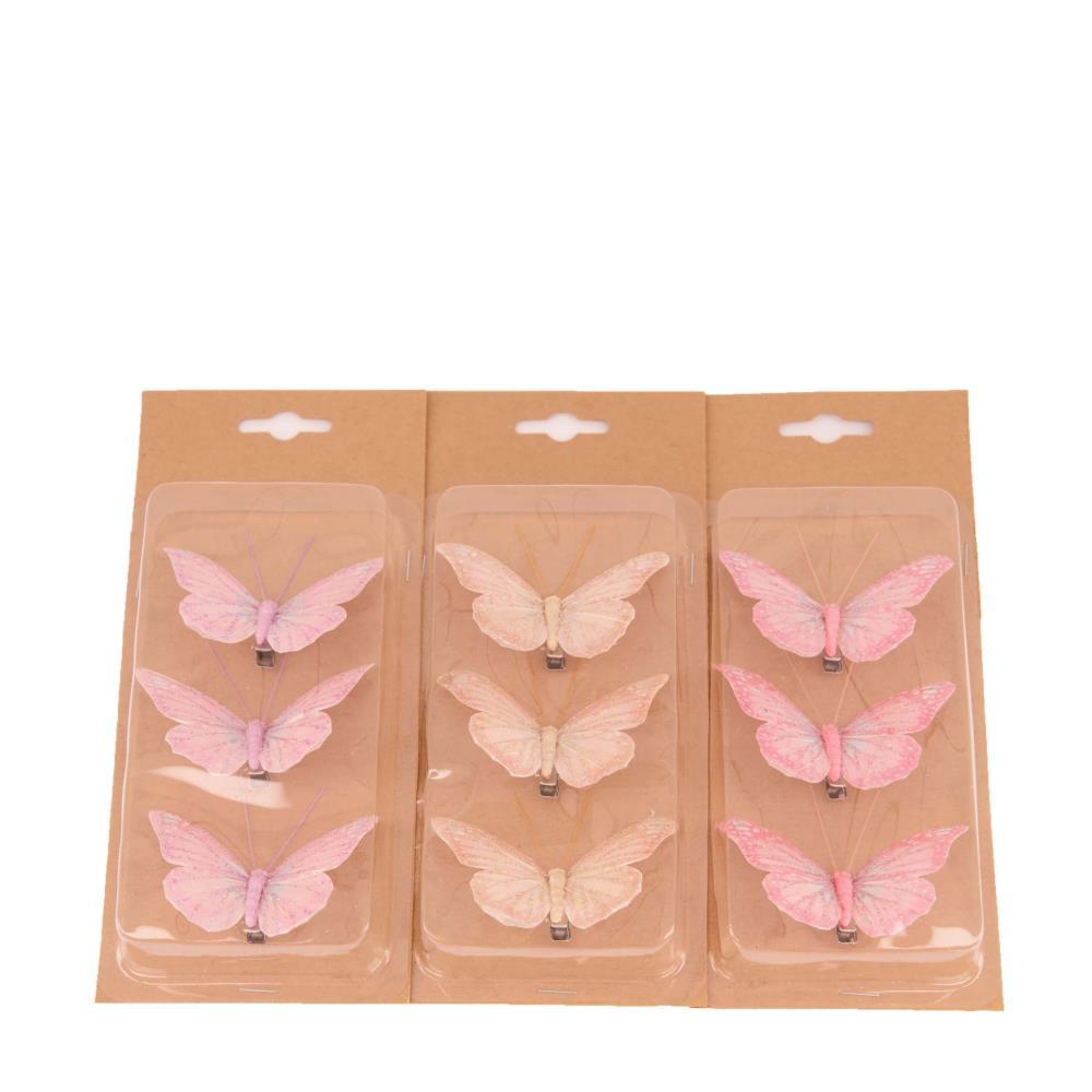 Schmetterling auf Clip 8x4cm, Ve. 3 Stk
