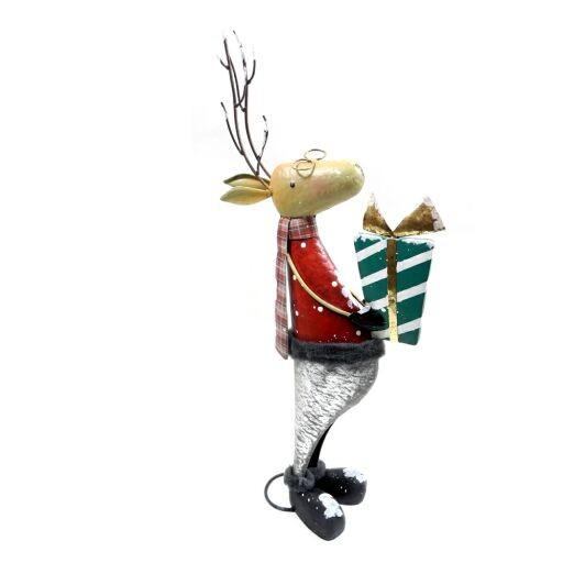 Elch mit Geschenk, stehend, 35 x H 68cm