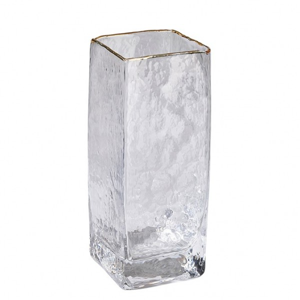 Vase quadratisch mit Goldrand 8x8x20,5cm (#120628000)