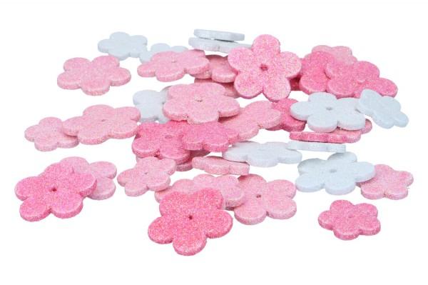 Blüte mit Glitter, 1 Pack = 64 Stück